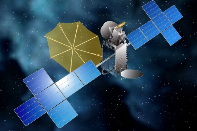 An artist's concept shows Sirius XM's latest broadcasting satellite, SXM-7, in space with extended solar arrays and broadcast antenna. Image courtesy of Sirius XM