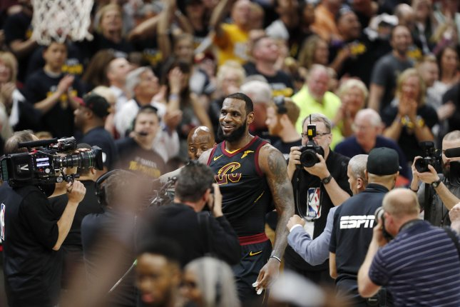 Cleveland Cavaliers forward LeBron James (C) walks off the court after the NBA Eastern Conference semifinals basketball Game 3 between the Toronto Raptors and the Cleveland Cavaliers at the Quicken Loans Arena in Cleveland, Ohio. Photo by David Maxwell/EPA-EFE/Shutterstock