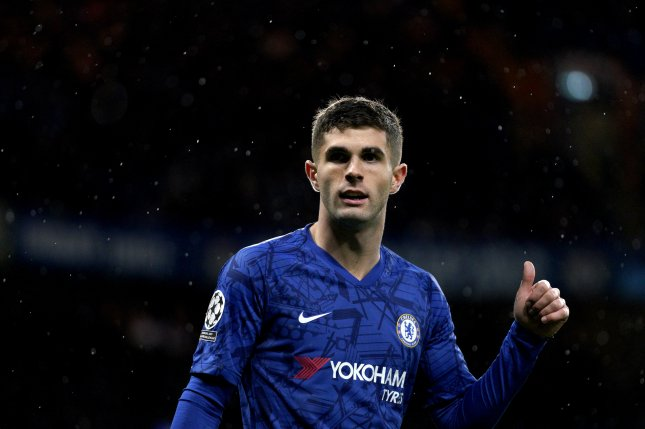 Chelsea's Christian Pulisic (pictured) scored an equalizer before Olivier Giroud netted the game-winner against Aston Villa Sunday in Birmingham, England. Photo by Will Oliver/EPA-EFE