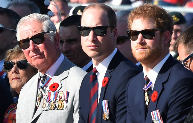 Left to right, Britain's Prince Charles, Prince William and Prince Harry attend a commemoration ceremony at the Canadian National Vimy Memorial in Vimy, France, on April 9. Prince Harry talked about seeking counseling after his mother's death in a podcast with The Telegraph. Photo by Philippe Huguen/EPA pool
