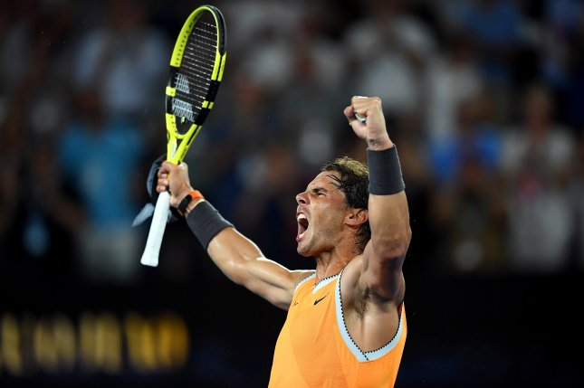 Rafael Nadal of Spain celebrates winning his men's singles semi final match against Stefanos Tsitsipas of Greece on Thursday at the Australian Open tennis tournament in Melbourne, Australia. Photo by Luikas Coch/EPA-EFE
