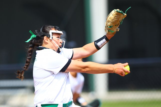 North Texas pitcher Hope Trautwein became the first player in Division I softball history to pitch a seven-inning perfect game with all 21 outs coming via strikeout in a win Sunday in Pine Bluff, Ark.  Photo by North Texas Athletics
