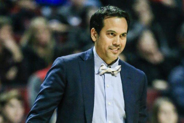 dcad1ed59 Miami Heat head coach Erik Spoelstra watches his team in action against the  Chicago Bulls in the first half of their NBA game at the United Center on  Jan.