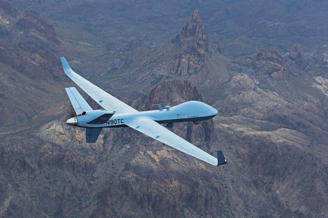 The MQ-9B SkyGuardian, pictured in flight, recently completed its first transatlantic flight in a 24-hour journey from Grand Forks, N.D., in the United States to Gloucestershire in the United Kingdom. Photo courtesy of General Atomics Aeronautical