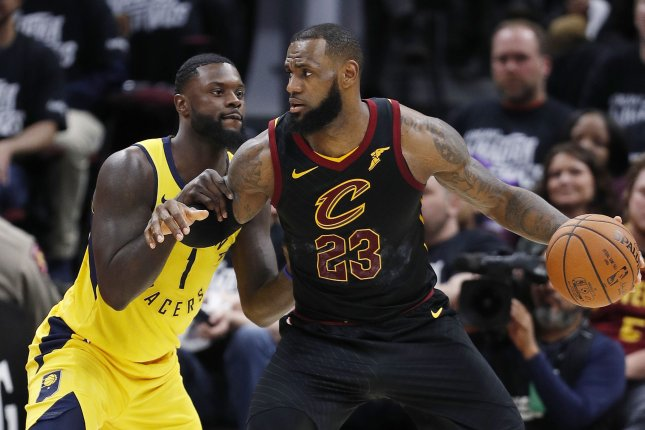 Lance Stephenson (L) of the Indiana Pacers defends against LeBron James of the Cleveland Cavaliers during the second half of Game 1 of the Eastern Conference first round playoffs at Quicken Loans Arena in Cleveland. Photo by David Maxwell/EPA-EFE