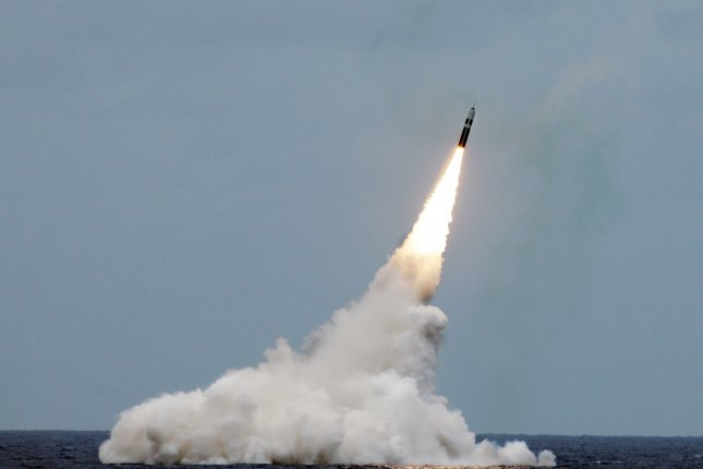 An unarmed Trident II D5 missile launches from the Ohio-class fleet ballistic-missile submarine USS Maryland off the coast of Florida in 2016. File Photo by John Kowalski/U.S. Navy