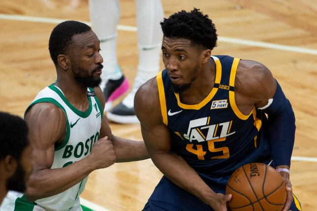 Utah Jazz guard Donovan Mitchell (R), shown March 16, 2021, has been out of the lineup since April 16 because of a sprained right ankle. File Photo by CJ Gunther/EPA-EFE