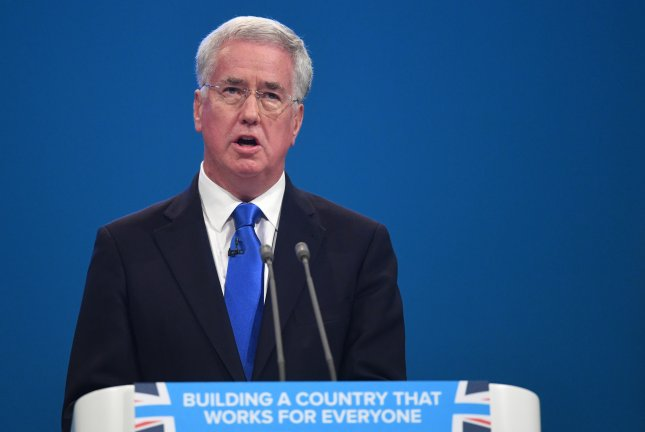 British Defense Secretary Michael Fallon resigned on Wednesday following allegations of sexual harassment saying his behavior toward woman had fallen below military standards. Photo by Facundo Arrizabalaga/EPA