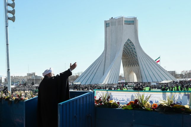 Iranian President Hassan Rouhani delivers a speech during a ceremony marking the 41st anniversary of the 1979 Islamic Revolution,at the Azadi (Freedom) square in Tehran on February 11. Photo courtesy of Iran President's Office/EPA-EFE