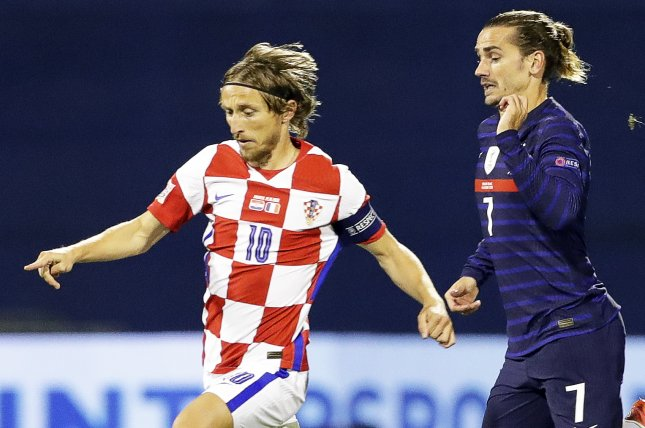 Croatia's Luka Modric (L) could not manage to score against France and Antoine Griezmann (R) during a UEFA Nations League game on Wednesday in Zagreb, Croatia. Photo by Antonio Bat/EPA-EFE