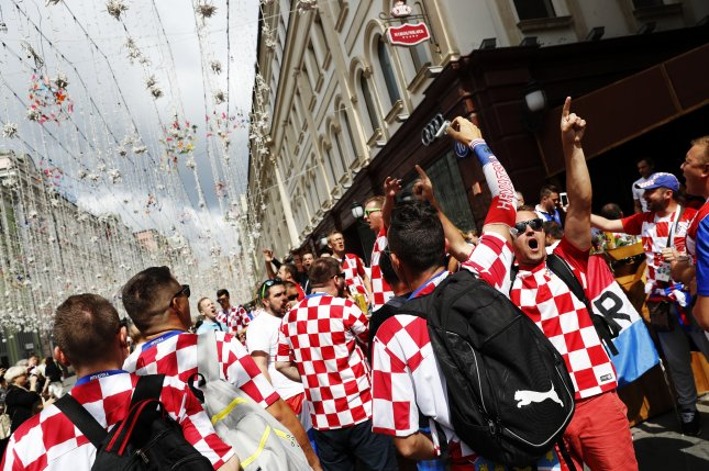 Croatia fans gather in Moscow. Croatia will face England in their 2018 FIFA World Cup semifinal soccer match on Wednesday in Moscow. Photo by Felipe Trueba/EPA-EFE