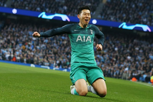 Tottenham Hotspur's Son Heung-Min celebrates scoring during the UEFA Champions League quarterfinal second leg match between Manchester City and Tottenham Hotspur on Wednesday at the Etihad Stadium in Manchester, Britain. Photo by Nigel Roddis/EPA-EFE