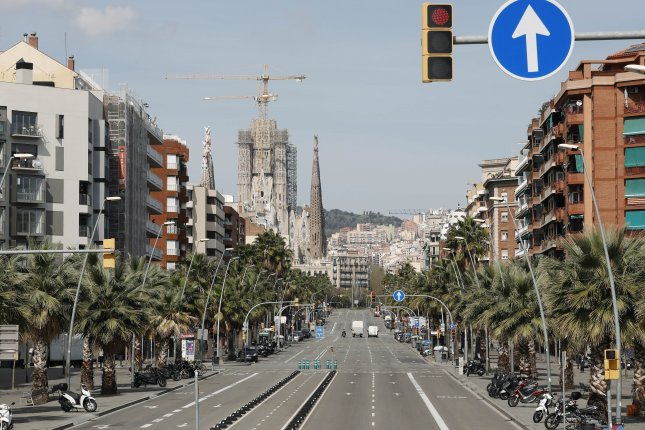 Marina Street in Barcelona, Spain, is pictured on March 21, nearly empty due to restrictions related to the coronavirus outbreak. File Photo by Andreu Dalmau/EPA-EFE