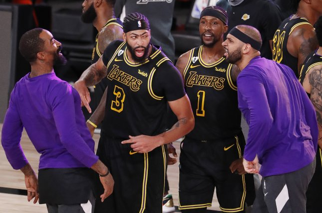 Lakers forward Anthony Davis (3) celebrates after scoring a game-high 31 points and the game-winning shot against the Denver Nuggets Sunday night in Game 2 of the Western Conference Finals. Photo by Erik S. Lesser/EPA-EFE