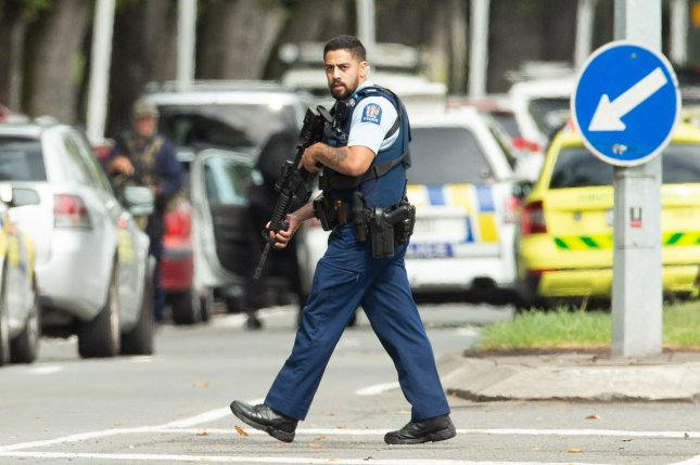 Armed police patrol in Christchurch, New Zealand, on March 15 after a gunman attacked two mosques. File Photo by Martin Hunter/EPA-EFE