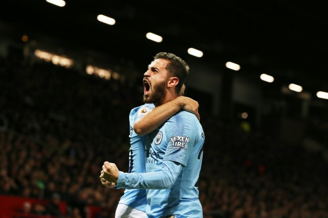 Manchester City's Bernardo Silva scored the first goal of the Manchester Derby against Manchester United on Wednesday at Old Trafford in Manchester, England. Photo by Nigel Roddis/EPA-EFE