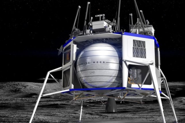 This is an artist's concept of a Blue Moon lunar lander that Jeff Bezos' Blue Origin space company intends to build for deep space missions. Image courtesy of Blue Origin