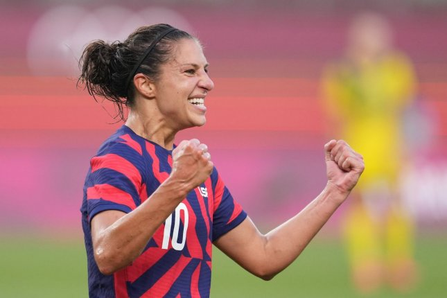 United States' Carli Lloyd celebrates Team USA's victory in the women's soccer bronze medal match during the 2020 Summer Olympics in Tokyo on August 5, 2021. Team USA won 4-3 to win the bronze medal. Photo courtesy of U.S. Soccer WNT/Twitter