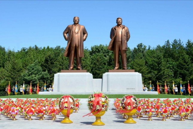 The statues of North Korea's founder, Kim Il Sung and his son and successor, Kim Jong Il, stand in the city of Nampho. On July 8, 1994, North Korean President Kim Il Sung died at age 82. He had led the country since its founding in 1948. File Photo courtesy of Yonhap