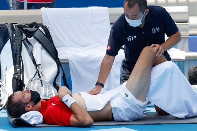 Daniil Medvedev of the Russian Olympic Committee used several medical timeouts Wednesday during his third-round tennis match against Fabio Fognini of Italy at the 2020 Summer Olympics in Tokyo, Japan. Photo by Rungroj Yongrit/EPA-EFE