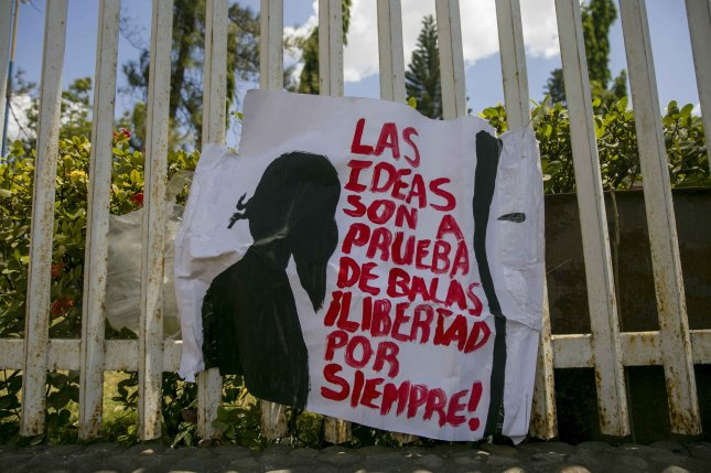 A banner reads Ideas are bulletproof - Freedom forever!, during the seventh day of protests Tuesday against the government, at the Polytechnic University of Nicaragua in Managua, Nicaragua. The protests began a week ago for the reform of Social Security. Photo by Jorge Torres/EPA-EFE