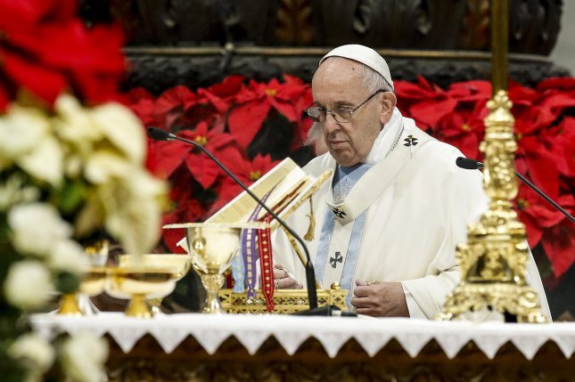 Pope Francis celebrates the Mass of the Solemnity of Mary Most Holy January 1 on the World Day of Peace in St. Peter's Basilica at the Vatican. Photo by Fabio Frustaci/EPA-EFE