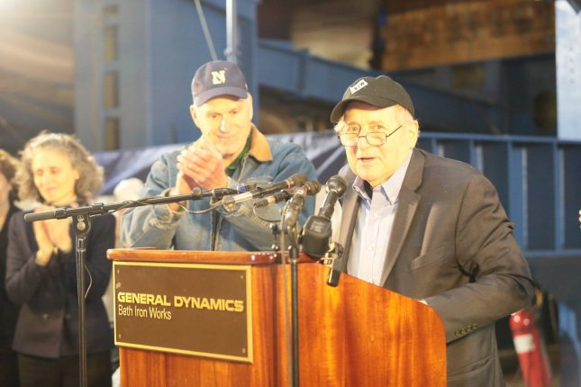 Retired U.S. Sen. Carl Levin, D-Mich., speaks at the keel laying for the future USS Carl M. Levin, an Arleigh Burke-class destroyer named for him. Photo courtesy of General Dynamics Bath Iron Works/Facebook