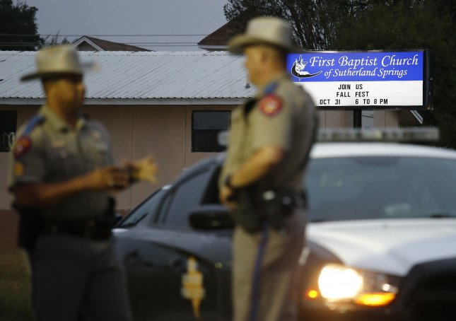 Video from the mass shooting at the First Baptist Church in Sutherland Springs, Texas on Sunday showed the shooter, Devin Patrick Kelley, methodically firing at the victims. Photo by Larry W. Smith/EPA