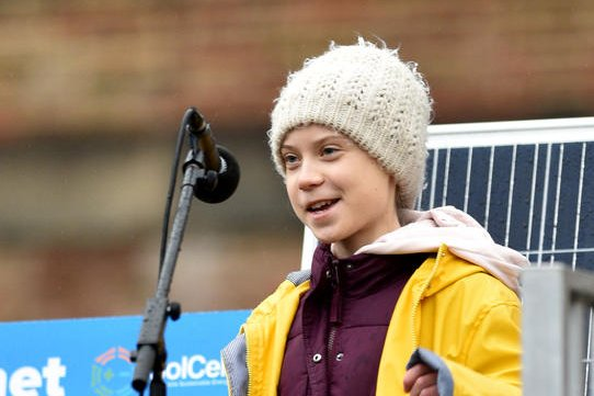 Teen climate activist Greta Thunberg addresses thousands of striking schoolchildren and adult supporters Friday in Bristol, Britain. Photo by Neil Munns/EPA-EFE