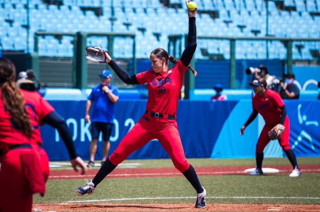 Cat Osterman threw four strikeouts and allowed one hit on 83 pitches in six scoreless innings to lead Team USA over Mexico at the 2020 Summer Games on Saturday in Yokohama, Japan. Photo by Jade Hewitt, Courtesy of USA Softball