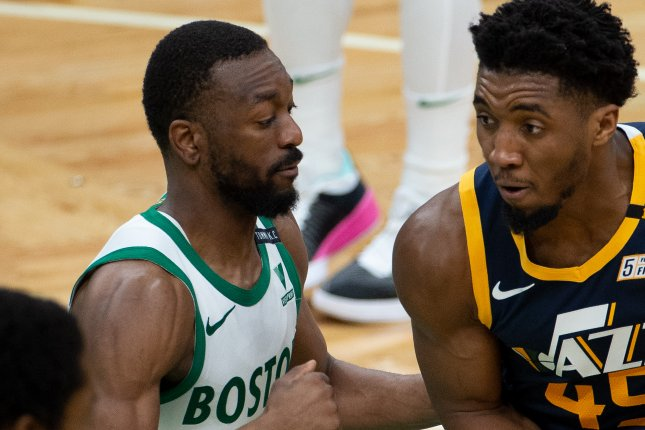 Former Boston Celtics and Oklahoma City Thunder guard Kemba Walker (L), shown March 16, 2021, averaged 19.3 points and 4.9 assists per game this past season. File Photo by CJ Gunther/EPA-EFE