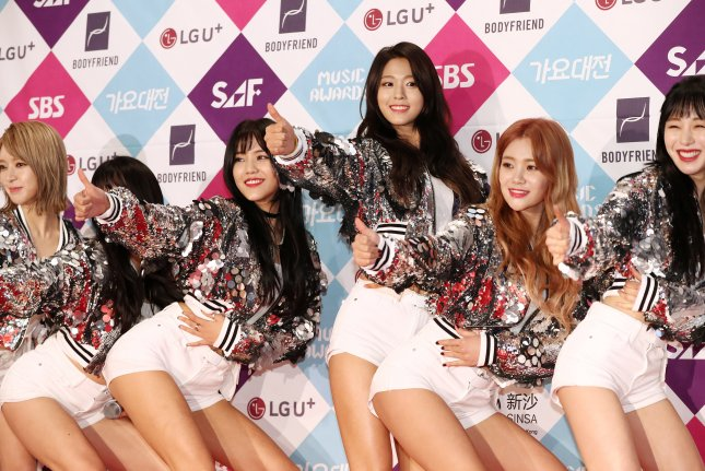 Seolhyun (fourth from left) of AOA attends the SBS Awards Festival in Seoul, South Korea, on December 25, 2016. File Photo by Yonhap News Agency/EPA
