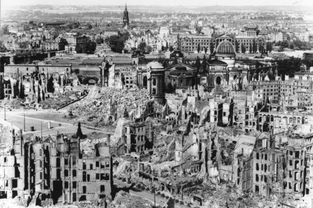 On February 13, 1945, thousands of Allied planes started bombing the German city of Dresden in World War II. The attack caused a firestorm that destroyed the city over a three-day period. File Photo courtesy of the German Federal Archives