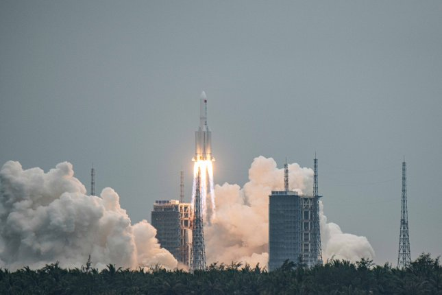 The Long March-5B rocket, carrying China's Tianhe space station core module, lifted off from the Wenchang Spacecraft Launch Site in Hainan Province, China, on Thursday. File Photo by Matjaz Tancic/EPA-EFE