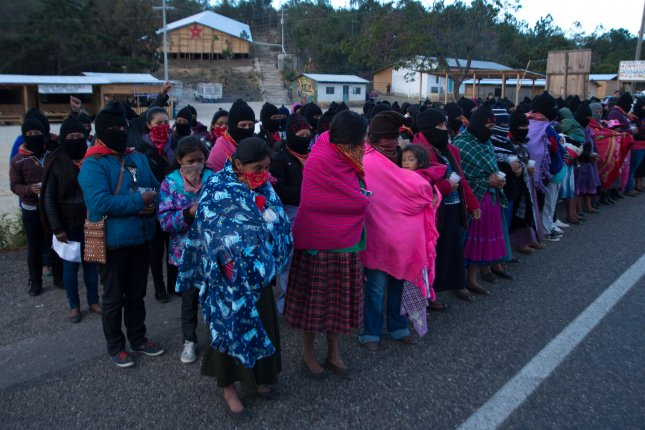 Dozens of Zapatista women meet in Chiapas, Mexico, on March 9 to join the national women's strike to demand a stop to violence in the country. File Photo by Carlos Lopez/EPA-EFE