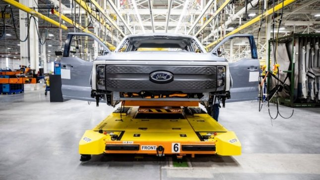 Ford F-150 Lightning pre-production model is shown at Rouge Electric Vehicle Center. Photo courtesy of Ford