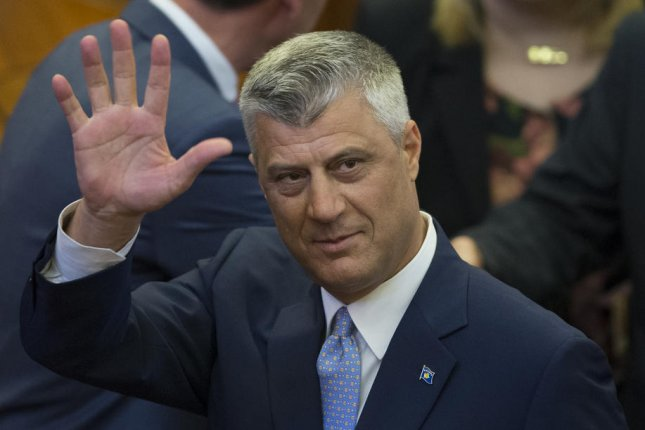Kosovo President Hashim Thaci waves after he is sworn in at the Parliament in Pristina, Kosovo, on April 7, 2016. Thaci and others were indicted Wednesday on 10 criminal counts at The Hague. File Photo by Valdrin Xhemaj/EPA-EFE