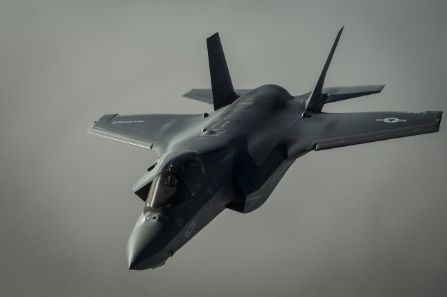 A U.S. Marine Corps F-35B Lightning II similar to this one crashed in Southern California on Tuesday, authorities said. File Photo by U.S. Air Force/Staff Sgt. Corey Hook/UPI