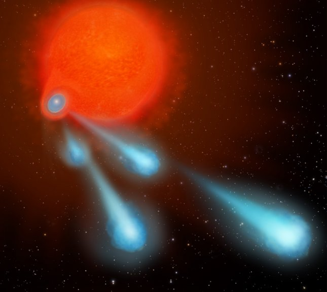 Part of a four-panel graphic illustrating how the binary-star system V Hydrae is launching balls of plasma into space. This ejection process is repeated every eight years, the time it takes for the orbiting star to make another pass through the bloated red giant's envelope, shown in panel 4 (seen here). Photo by NASA/ESA/A. Feild/STScI