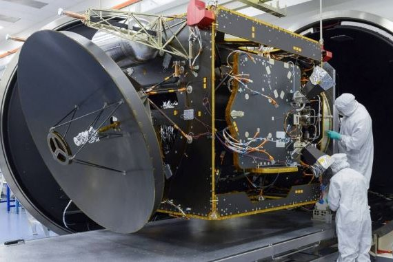Technicians work on the Emirates Mars Mission Hope orbiter spacecraft earlier this year at the University of Colorado. Photo courtesy of UAE Space Agency