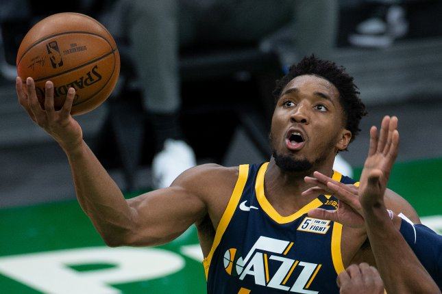 Utah Jazz guard Donovan Mitchell scored 16 points in the third quarter and fourth quarter to lead his team to a playoff win over the Los Angeles Clippers on Tuesday in Salt Lake City. Photo by CJ Gunther/EPA-EFE