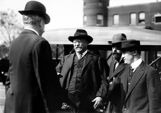 Former U.S. President Theodore Roosevelt pictured shortly before would-be assassin, John Schrank, shot him in Milwaukee, Wis., on Oct. 14, 1912. File Photo by Library of Congress/UPI