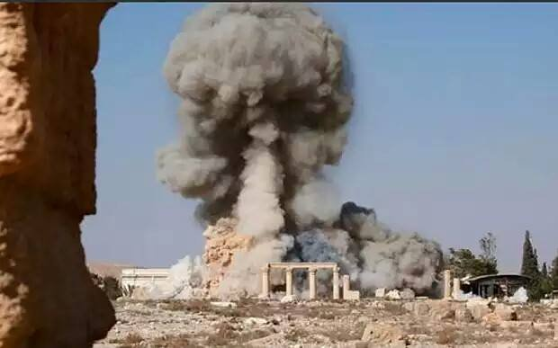 Islamic State supporters posted photos of the destruction of the ancient temple of Baal Shamin, or Lord of the Heavens, in Palmyra, Syria, earlier this year. A new study suggests the Islamic State isn't the only group responsible for looting antiquities since the start of the country's civil war. Photo courtesy Syrian Department of Antiquities and Museums