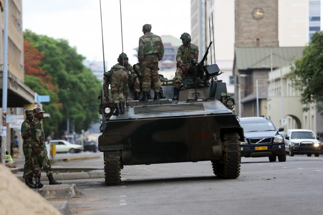 The Zimbabwe National Army took control of the government from President Robert Mugabe on November 15, 2017. The military denied it staged a coup d'etat. Photo by EPA-EFE/Aaron Ufumeli