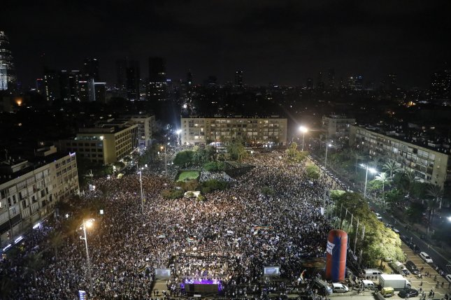 About 50,000 people rallied in Tel Aviv Aug. 4, angry about Israel's new law declaring it the nation-state of the Jewish people. On Saturday, about 30,000 of the country's Arab minority follow suit in a protest denouncing the law. Photo by Abir Sultan/EPA-EFE
