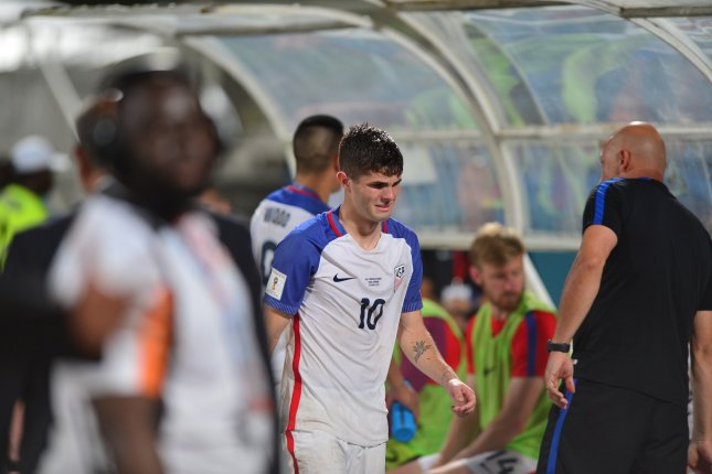 Christian Pulisic had three shots before being substituted out in the 63rd minute of the United States Men's National Team's 4-0 win against Guyana at the Gold Cup Tuesday in Saint Paul, Minn. Photo by Robert Taylor/EPA-EFE