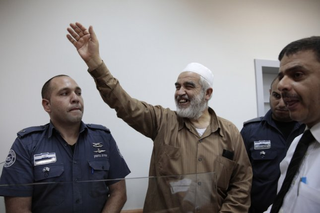 Israeli-Arab Muslim leader Sheikh Raed Salah, shown here after his arrest in August 2017, was sentenced to 28 months in prison Monday on charges of inciting terrorism. File Photo by Jim Hollander/EPA