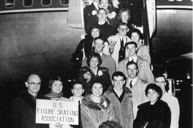 The 1961 U.S. figure skating team poses before boarding on a flight to an international meet in Prague on February 15, 1961. The plane crashed in Belgium and all 18 members of the team were killed. File Photo courtesy of the World Figure Skating Museum & Hall of Fame