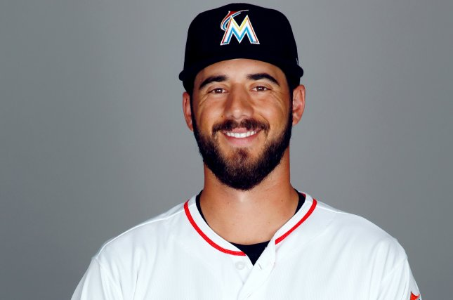Former Miami Marlins pitcher Kyle Barraclough poses during photo day on February 22 at Roger Dean Stadium in Jupiter, Fla. Photo by Eliot J. Schechter/MLB Photos via Getty Images