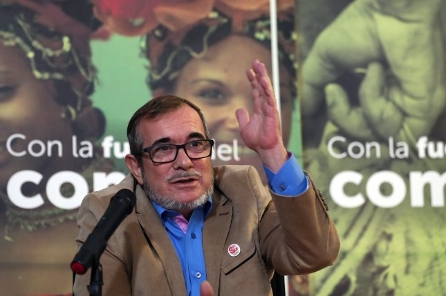 FARC leader Rodrigo Londono, shown here in Bogota, Colombia in 2018, said the government was in violation of its peace deal with the group for not providing protection. Photo by Mauricio Duenas Castaneda/EPA-EFE
